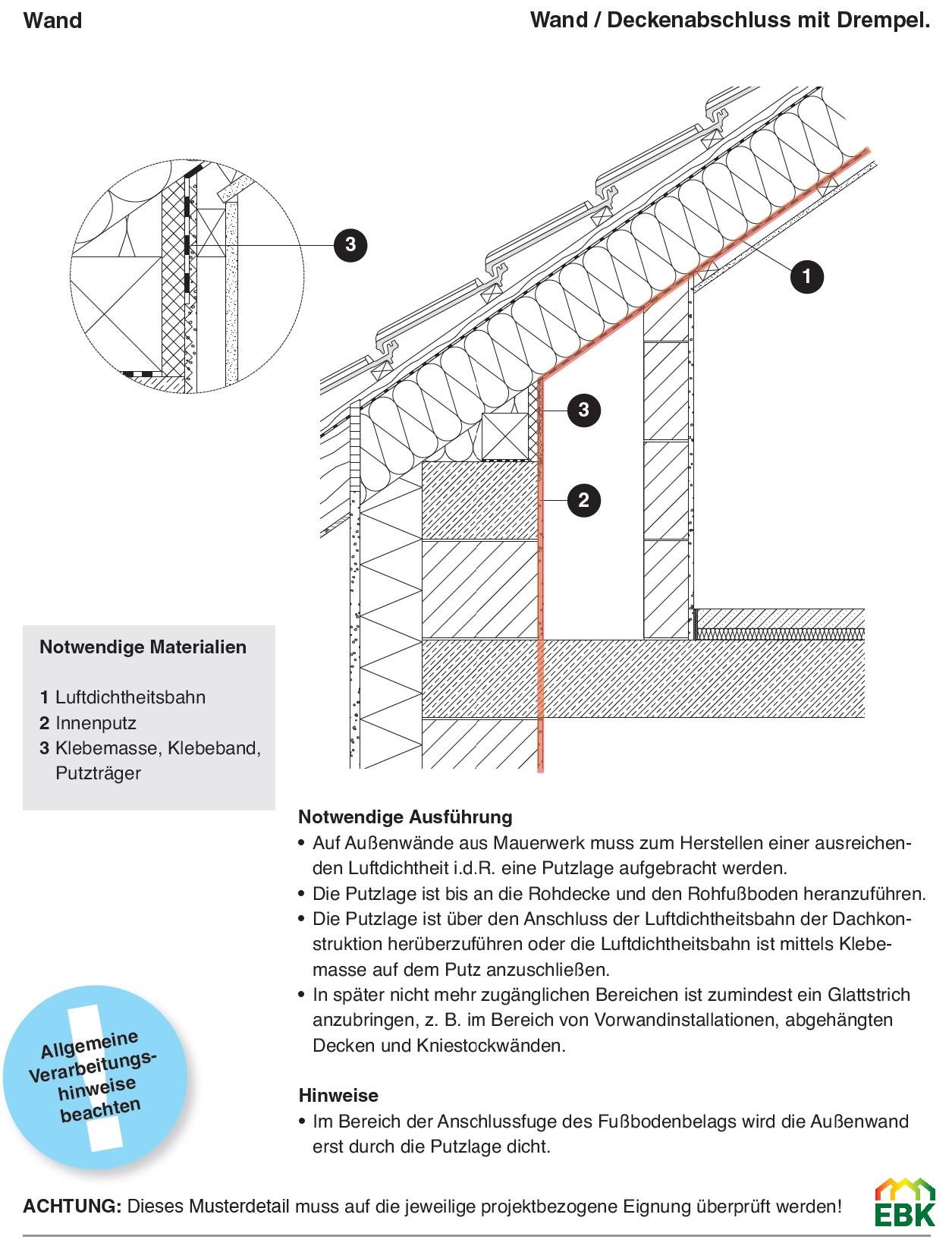 Wand- Deckenanschluss bei Trempel (Kniestock)